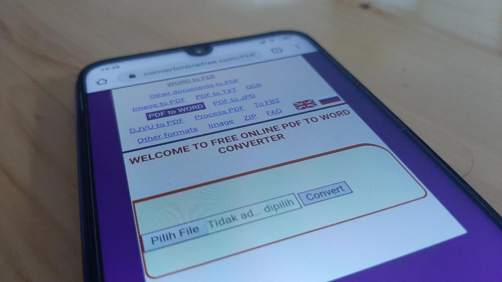 Cara Mengubah Dokumen PDF ke Word online di Android